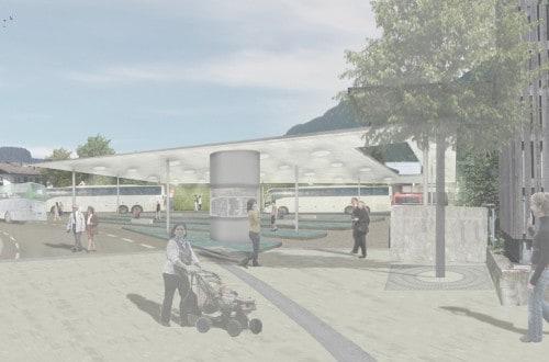 Perspektive des neuen Busbahnhofs
