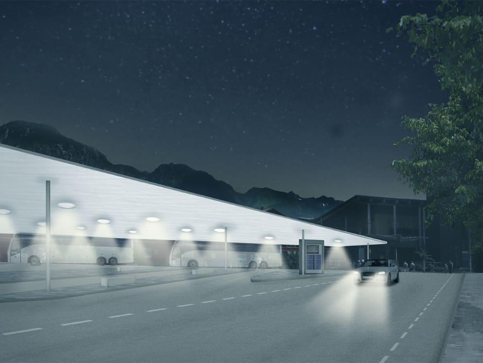Realisierungswettbewerb Bahnhofsumfeld Markt Oberstdorf, Nachtansicht