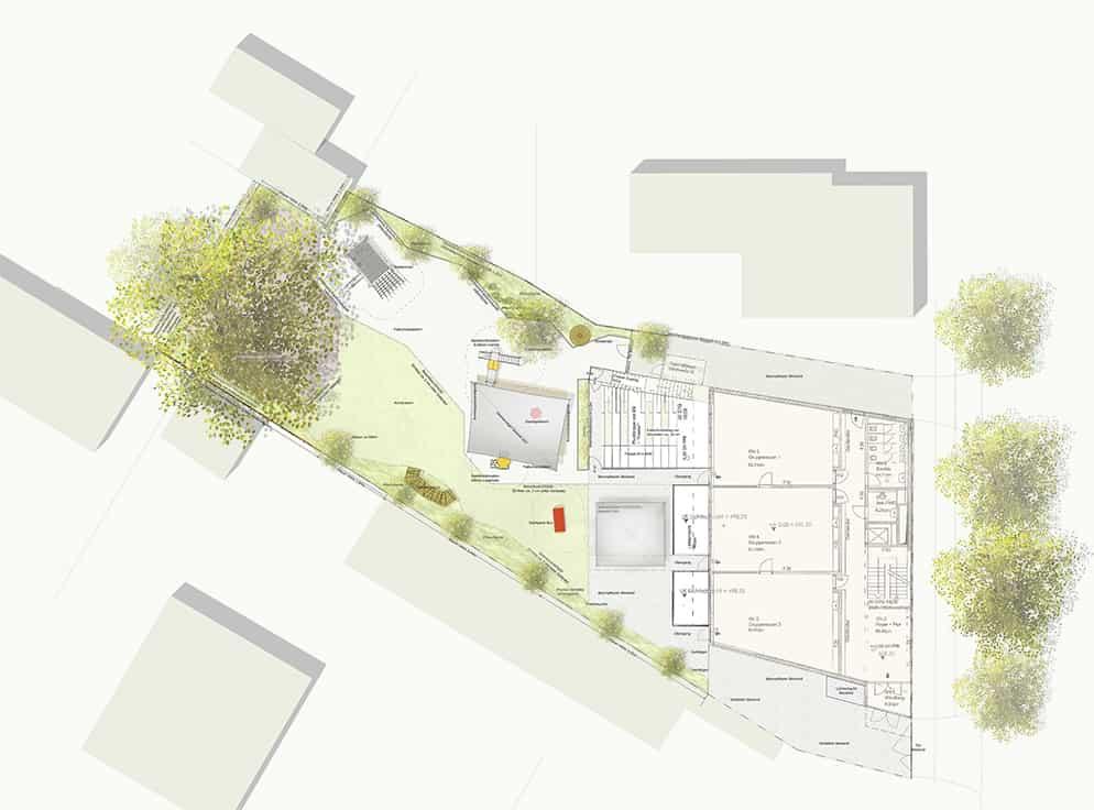 Freiflächen Grundriss Sanierung Kinder Campus